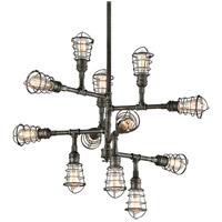 Troy Lighting F3817 Conduit 12 Light 34 inch Old Silver Chandelier Ceiling Light