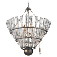 Troy Lighting 121 Main 8 Light Chandelier in Old Silver with Brass F3948