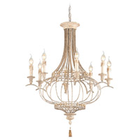 Chaumont 8 Light 29 inch Distressed Driftwood, Gold Leaf Chandelier Ceiling Light