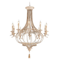 Chaumont 10 Light 36 inch Distressed Driftwood, Gold Leaf Chandelier Ceiling Light