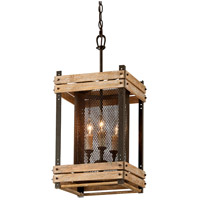 Merchant Street 3 Light 12 inch Rusty Iron with Salvaged Wood Slats Pendant Ceiling Light