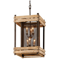 Merchant Street 6 Light 17 inch Rusty Iron, Salvaged Wood Pendant Ceiling Light