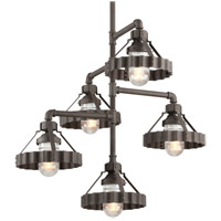 Troy Lighting Canary Wharf 5 Light Entry Pendant in Burnt Sienna F4247