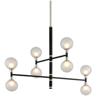 Troy Lighting Andromeda - 8 Light Pendant - Carbide Black and Polished Nickel Finish - Clear and Frosted Glass F4825