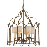 Troy Lighting Carousel - Pendant - 6 Light - Provence Bronze Finish - Hardback Linens F4837
