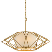 Calliope 6 Light 34 inch Rustic Gold Leaf Pendant Ceiling Light