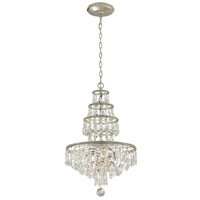 Troy Lighting Athena - Chandelier - 4 Light - Silver Leaf and Polished Nickel Accents Finish - Clear Crystal Drops F4885
