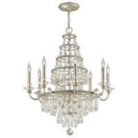 Troy Lighting Athena - Chandelier - 8 Light - Silver Leaf and Polished Nickel Accents Finish - Clear Crystal Drops F4886