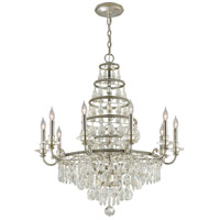 Athena 10 Light 36 inch Silver Leaf and Polished Nickel Accents Chandelier Ceiling Light
