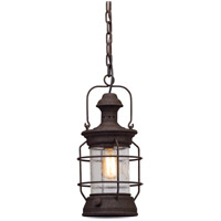 Troy Lighting Atkins - Outdoor Pendant - Centennial Rust Finish - Clear Textured Glass F5057