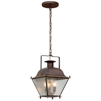Troy Lighting Wellesley - Outdoor Pendant - Incandescent - Natural Rust Finish - Clear Seeded Glass F5077NR