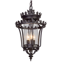 Greystone 3 Light 12 inch Forged Iron Outdoor Pendant