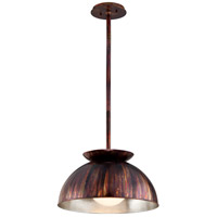 Library 1 Light 20 inch Copper Patina Exterior with Silver Leaf Interior Pendant Ceiling Light
