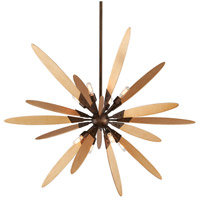 Dragonfly 8 Light 44 inch Bronze with Satin Leaf Pendant Ceiling Light
