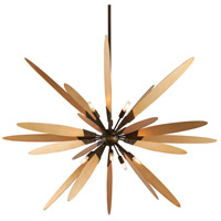 Dragonfly 10 Light 60 inch Bronze with Satin Leaf Pendant Ceiling Light