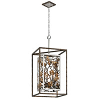 Troy Lighting Chrysalis - Pendant - 4 Light - Cottage Bronze Finish - Stainless Steel and Gold Leaf Accents F5294