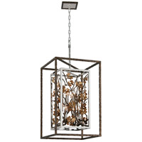 Troy Lighting Chrysalis - Pendant - 8 Light - Cottage Bronze Finish - Stainless Steel and Gold Leaf Accents F5298