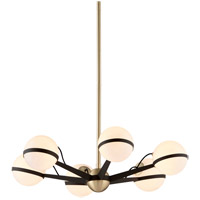 Troy Lighting Ace - Chandelier - 6 Light - Textured Bronze and Brushed Brass Finish - Gloss Opal Glass F5303