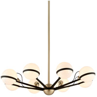Troy Lighting Ace - Chandelier - 8 Light - Textured Bronze and Brushed Brass Finish - Gloss Opal Glass F5304
