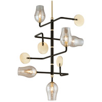 Troy Lighting Equilibrium - Pendant - 5 Light - Textured Bronze and Brushed Brass Finish - Plated Topaz Glass F5315