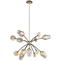 Troy Lighting Equilibrium - Pendant - 7 Light - Textured Bronze and Brushed Brass Finish - Plated Topaz Glass F5316
