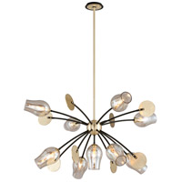 Troy Lighting Equilibrium - Pendant - 9 Light - Textured Bronze and Brushed Brass Finish - Plated Topaz Glass F5317