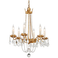 Viola 6 Light 22 inch Distressed Gold Leaf Chandelier Ceiling Light
