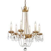 Troy Lighting F5365 Viola 6 Light 22 inch Distressed Gold Leaf Chandelier Ceiling Light