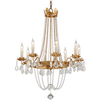 Viola 8 Light 28 inch Distressed Gold Leaf Chandelier Ceiling Light