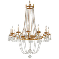 Viola 12 Light 38 inch Distressed Gold Leaf Chandelier Ceiling Light