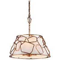 Coda 3 Light 18 inch Antique Copper Leaf Pendant Ceiling Light
