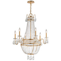 Pierre 6 Light 30 inch Distressed Gold Leaf Chandelier Ceiling Light