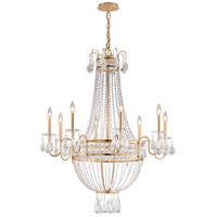 Pierre 8 Light 36 inch Distressed Gold Leaf Chandelier Ceiling Light