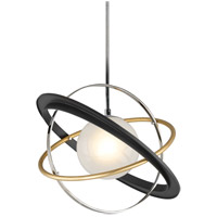 Troy Lighting F5511 Apogee LED 24 inch Bronze with Gold Leaf and Polished Stainless Pendant Ceiling Light