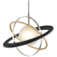 Apogee LED 30 inch Bronze with Gold Leaf and Polished Stainless Pendant Ceiling Light