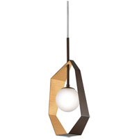 Origami LED 12 inch Bronze with Gold Leaf Pendant Ceiling Light, Frosted Clear Glass