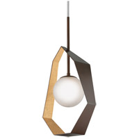 Origami LED 17 inch Bronze with Gold Leaf Pendant Ceiling Light, Frosted Clear Glass