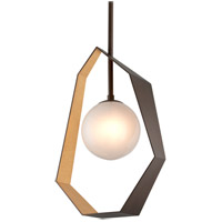 Origami LED 22 inch Bronze with Gold Leaf Pendant Ceiling Light, Frosted Clear Glass