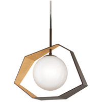 Origami LED 26 inch Bronze with Gold Leaf Pendant Ceiling Light, Frosted Clear Glass