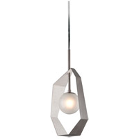 Origami LED 12 inch Graphite with Silver Leaf Pendant Ceiling Light, Frosted Clear Glass