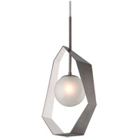 Origami LED 17 inch Graphite with Silver Leaf Pendant Ceiling Light, Frosted Clear Glass