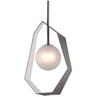 Origami LED 22 inch Graphite with Silver Leaf Pendant Ceiling Light, Frosted Clear Glass