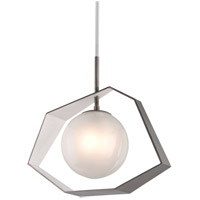 Origami LED 26 inch Graphite with Silver Leaf Pendant Ceiling Light, Frosted Clear Glass
