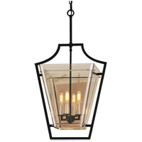 Domain 4 Light 17 inch Hand-Worked Iron with Polished Chrome Detail Pendant Ceiling Light, Plated Topaz Glass