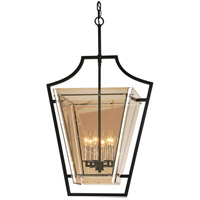 Domain 6 Light 23 inch Hand-Worked Iron with Polished Chrome Detail Pendant Ceiling Light, Plated Topaz Glass