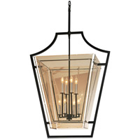 Domain 8 Light 31 inch Hand-Worked Iron with Polished Chrome Detail Pendant Ceiling Light, Plated Topaz Glass