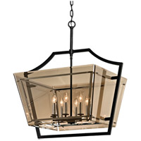 Troy Lighting F5599 Domain 8 Light 31 inch Forged Iron and Polished Chrome Pendant Ceiling Light, Topaz Plated Glass