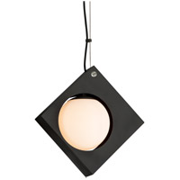 Conundrum LED 10 inch Textured Black Pendant Ceiling Light, Frosted White Glass