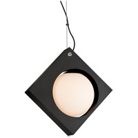 Conundrum LED 12 inch Textured Black Pendant Ceiling Light, Frosted White Glass