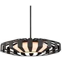 Impulse LED 36 inch Textured Bronze Pendant Ceiling Light, Opal White Glass